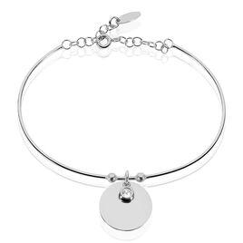 Bracelet Jonc Paula Argent Blanc Oxyde De Zirconium - Bracelets fantaisie Femme | Histoire d'Or