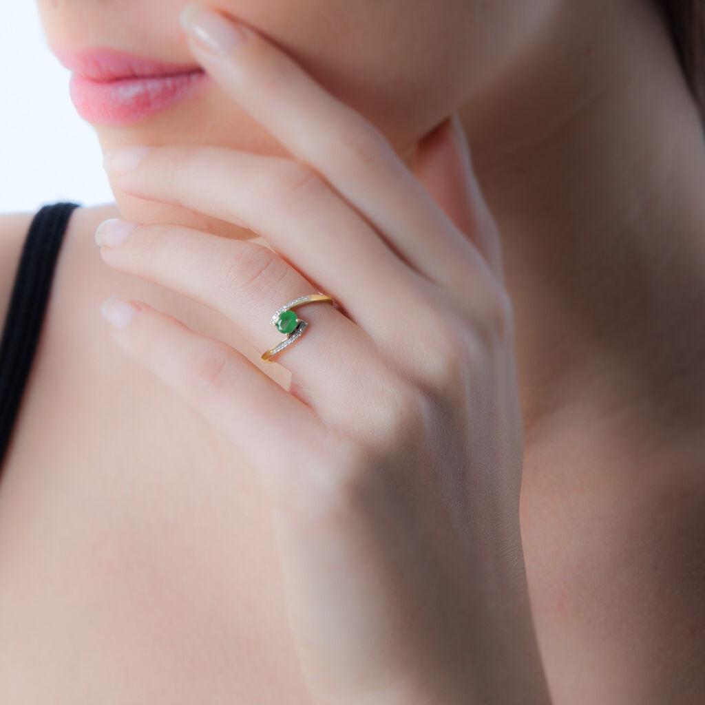 Bague Monica Or Jaune Emeraude Et Diamant - Bagues solitaires Femme   Histoire d'Or