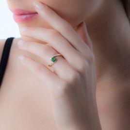 Bague Monica Or Jaune Emeraude Et Diamant - Bagues solitaires Femme | Histoire d'Or