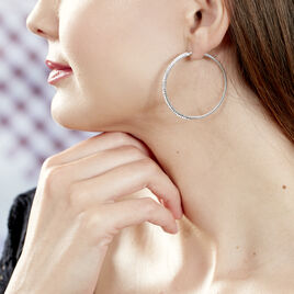 Créoles Tyhana Fil Carre Or Blanc Strass - Boucles d'oreilles créoles Femme   Histoire d'Or