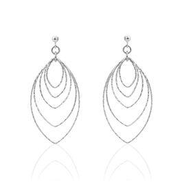 Boucles D'oreilles Pendantes Chayan Argent Blanc - Boucles d'Oreilles Plume Femme   Histoire d'Or