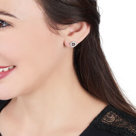 Boucles D'oreilles Puces Cicely Argent Blanc Oxyde De Zirconium - Boucles d'oreilles fantaisie Femme   Histoire d'Or