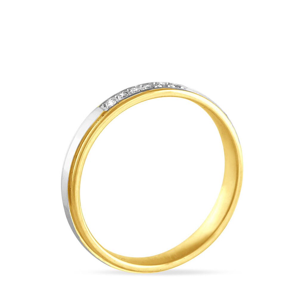 Alliance Serti Grains Or Bicolore Diamant - Alliances Femme | Histoire d'Or