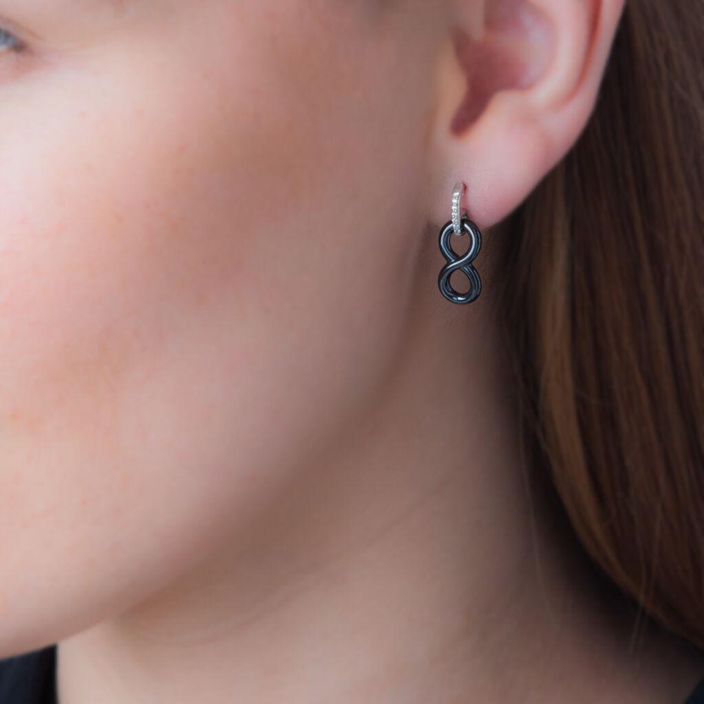 Boucles D'oreilles Pendantes Celinia Argent Céramique Et Oxyde - Boucles d'Oreilles Infini Femme | Histoire d'Or