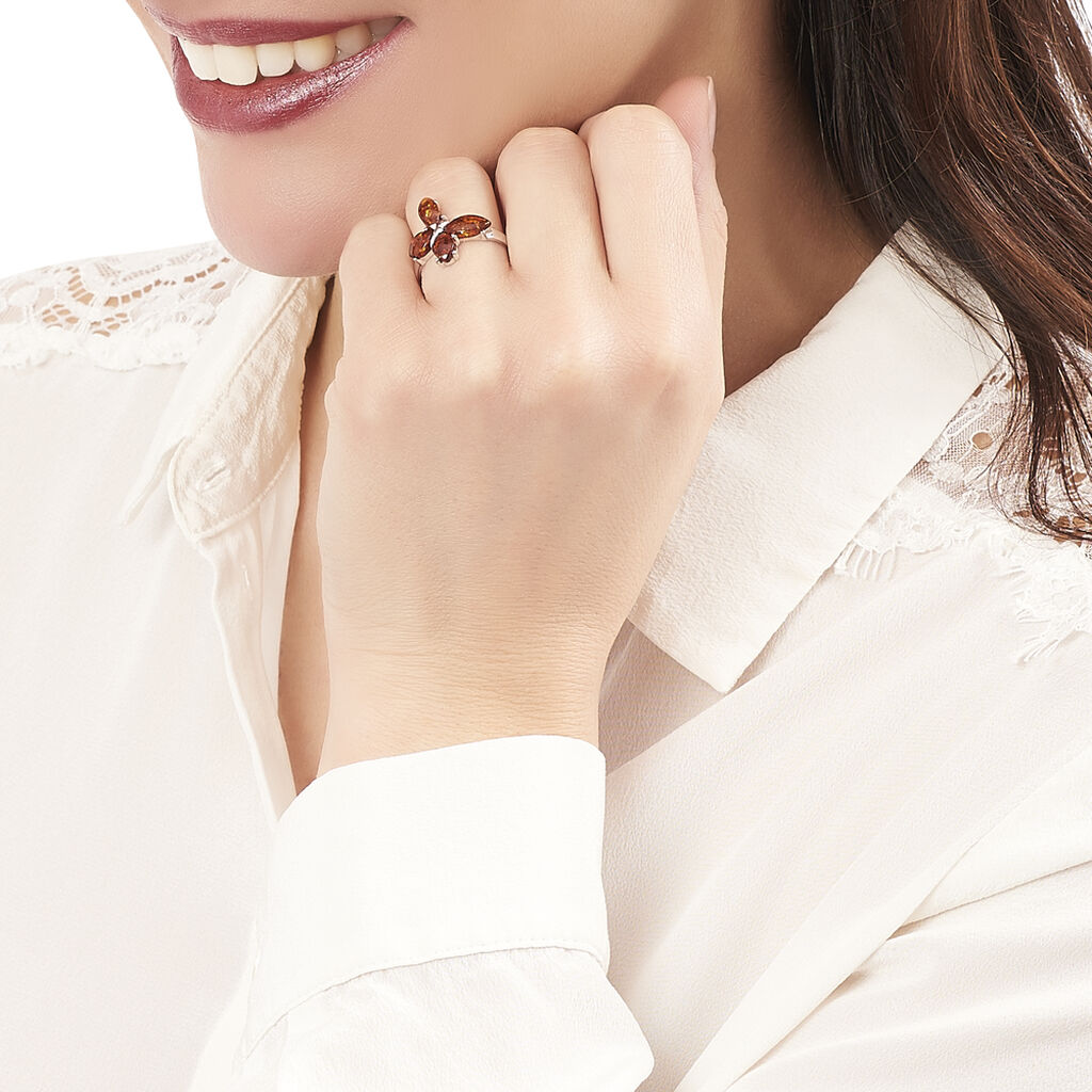 Bague Asma Argent Blanc Ambre - Bagues Papillon Femme   Histoire d'Or