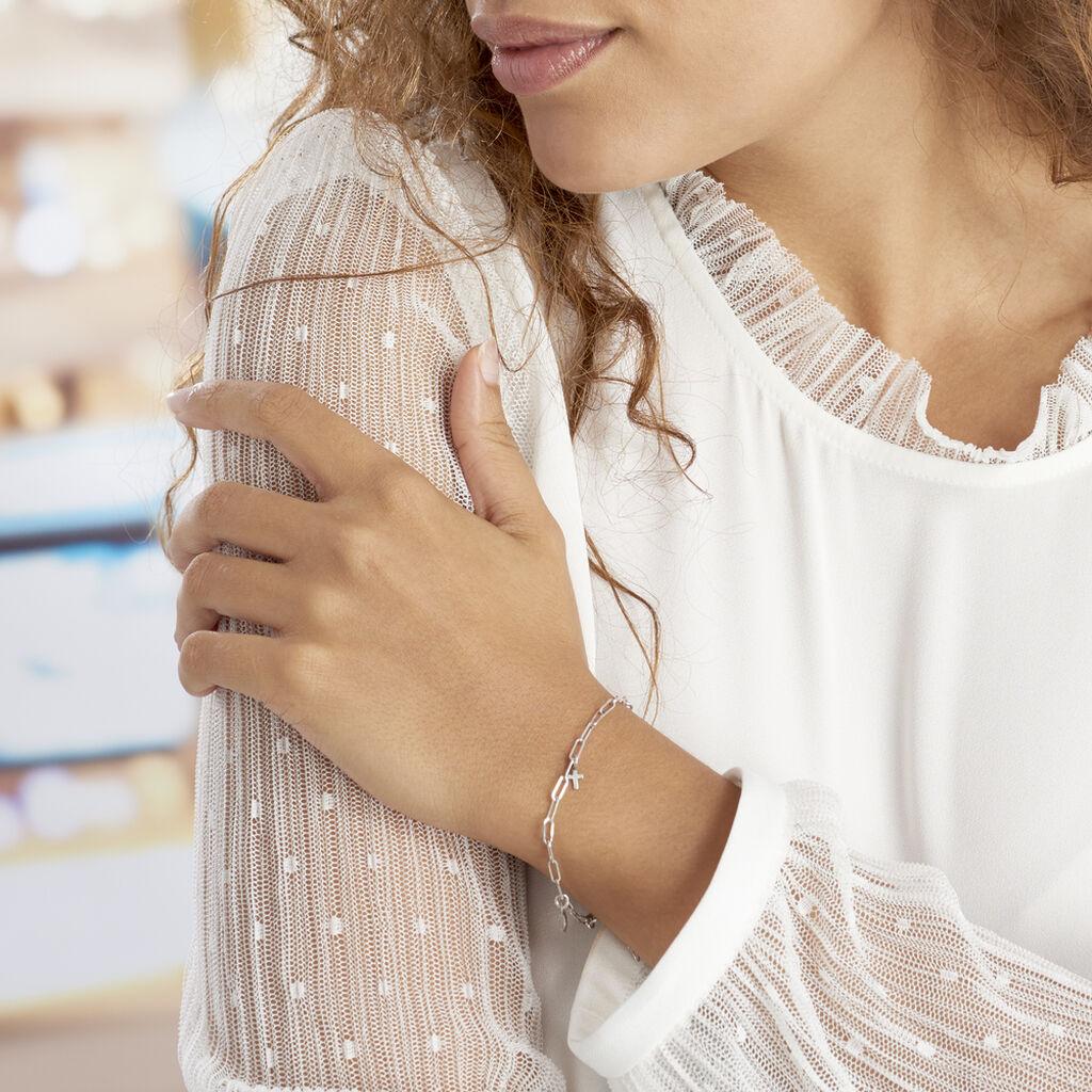 Bracelet Taola Argent Blanc - Bracelets Croix Femme   Histoire d'Or