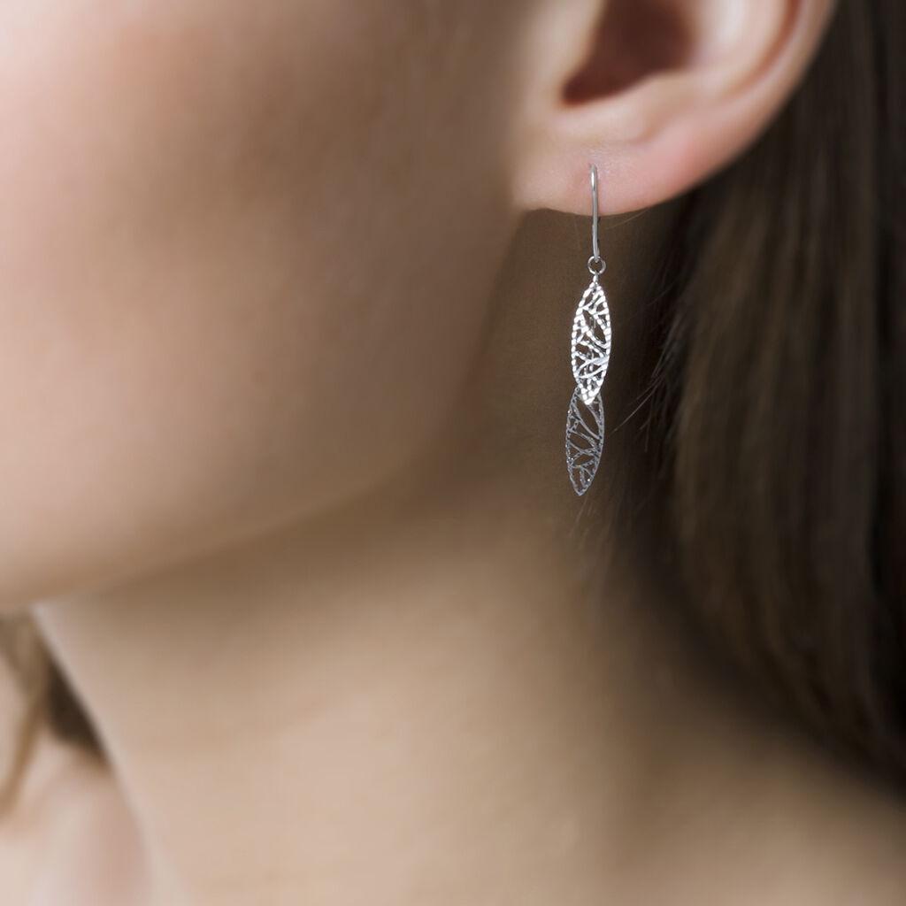 Boucles D'oreilles Pendantes Bartolomea Feuille Or Blanc - Boucles d'Oreilles Plume Femme | Histoire d'Or