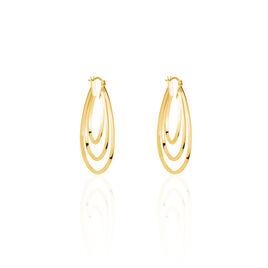 Créoles Aglae Acier Jaune - Boucles d'oreilles créoles Femme | Histoire d'Or