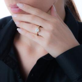 Bague Myleine Plaque Or Jaune Oxyde De Zirconium - Bagues Coeur Femme   Histoire d'Or