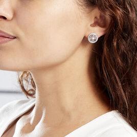 Boucles D'oreilles Puces Laetizia Celine Argent Blanc - Boucles d'oreilles fantaisie Femme | Histoire d'Or