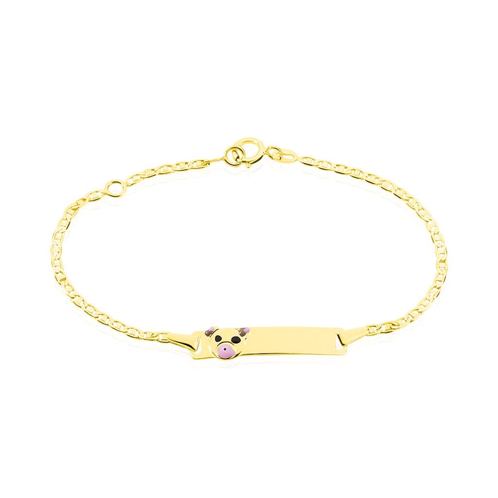 Bracelet Identité Euzebia Maille Chemin De Fer Or Jaune - Bracelets Communion Enfant   Histoire d'Or