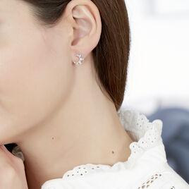 Boucles D'oreilles Puces Roxine Or Blanc Diamant - Boucles d'Oreilles Lune Femme | Histoire d'Or
