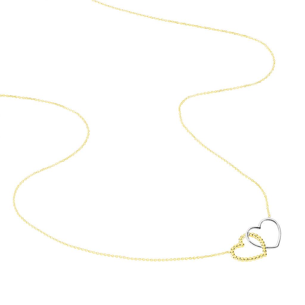 Collier Elizabeta Or Bicolore - Colliers Coeur Femme   Histoire d'Or