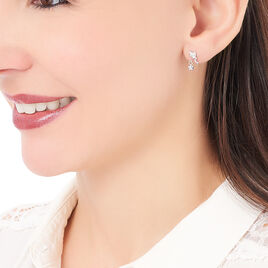 Boucles D'oreilles Pendantes Alison Argent Blanc Pierre De Synthese - Boucles d'Oreilles Etoile Femme | Histoire d'Or