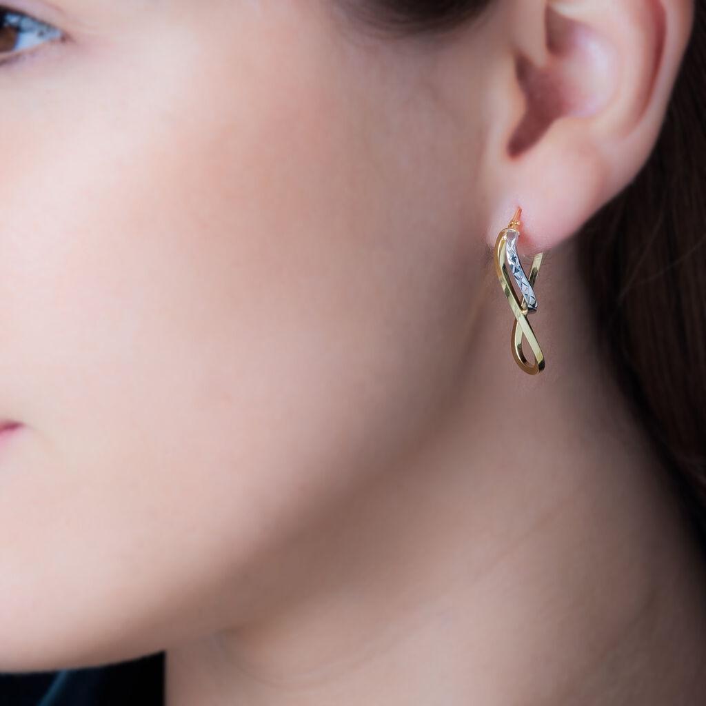 Créoles Hera Vrillees Fils Carres Or Bicolore - Boucles d'oreilles créoles Femme   Histoire d'Or