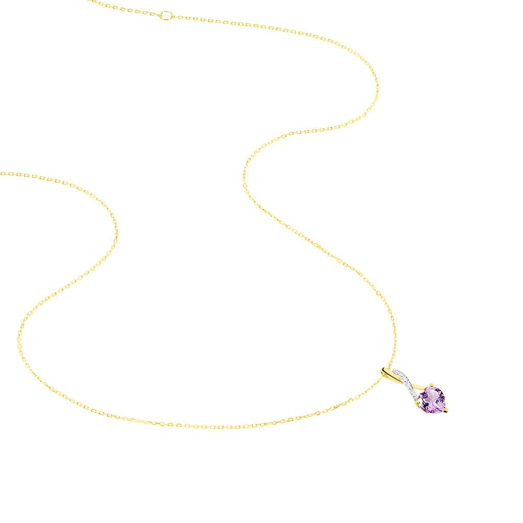 Collier Clothilde Or Jaune Amethyste Et Oxyde De Zirconium - Colliers Coeur Femme   Histoire d'Or