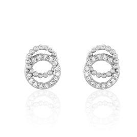 Boucles D'oreilles Puces Magou Argent Blanc Oxyde De Zirconium - Boucles d'oreilles fantaisie Femme | Histoire d'Or