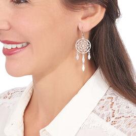 Boucles D'oreilles Pendantes Enola Argent Blanc - Boucles d'oreilles fantaisie Femme   Histoire d'Or