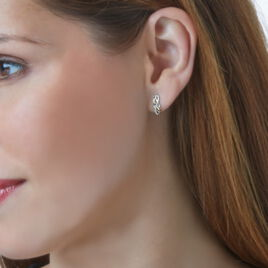 Boucles D'oreilles Puces Helene Or Bicolore Diamant - Clous d'oreilles Femme   Histoire d'Or