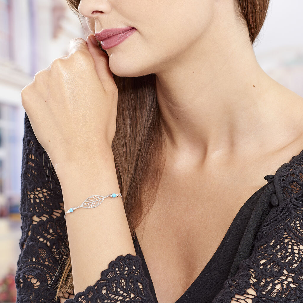 Bracelet Grethel Argent Blanc Turquoise - Bracelets Plume Femme   Histoire d'Or
