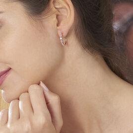 Boucles D'oreilles Plaque Or Rose Auxane - Boucles d'oreilles créoles Femme | Histoire d'Or