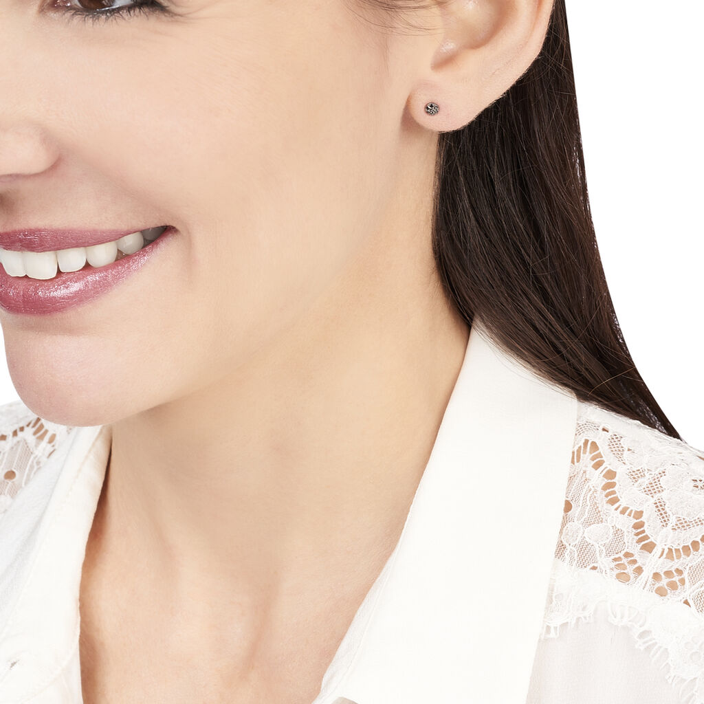 Boucles D'oreilles Puces Teani Or Blanc Diamant - Clous d'oreilles Femme | Histoire d'Or