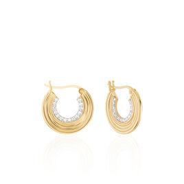 Créoles Rondes Plaque Or Jaune Oxyde De Zirconium - Boucles d'oreilles créoles Femme   Histoire d'Or