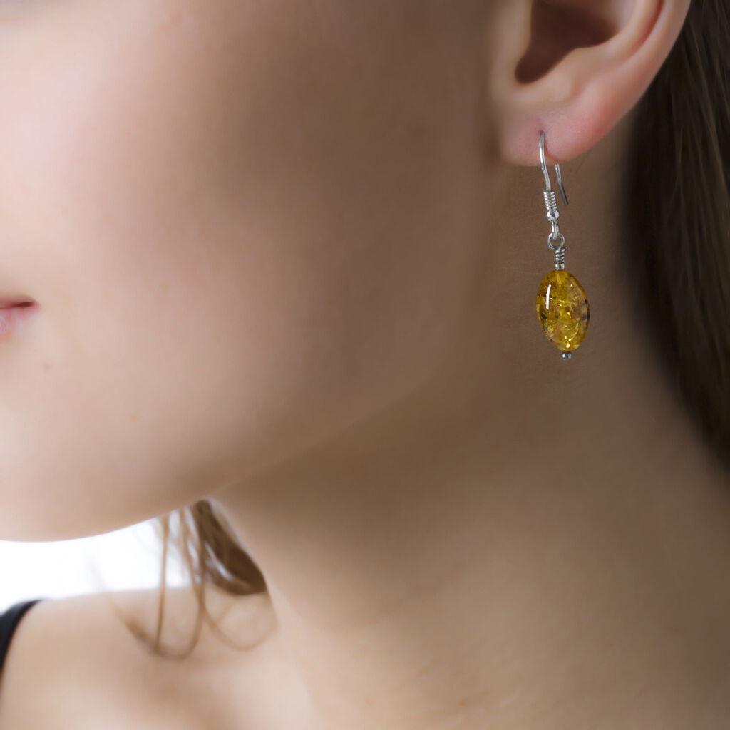 Boucles D'oreilles Pendantes Ilena Argent Blanc Ambre - Boucles d'oreilles fantaisie Femme   Histoire d'Or