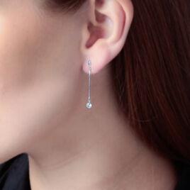 Boucles D'oreilles Pendantes Regane Or Blanc Oxyde De Zirconium - Boucles d'oreilles pendantes Femme | Histoire d'Or