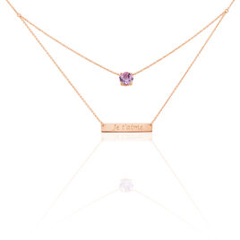 Collier Or Rose Alessandra Amethyste - Colliers double et triple chaines Femme | Histoire d'Or