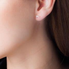 Boucles D'oreilles Puces Darina Noeud Or Jaune Oxyde De Zirconium - Clous d'oreilles Femme   Histoire d'Or