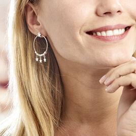 Boucles D'oreilles Argent Blanc  Olie - Boucles d'Oreilles Etoile Femme | Histoire d'Or