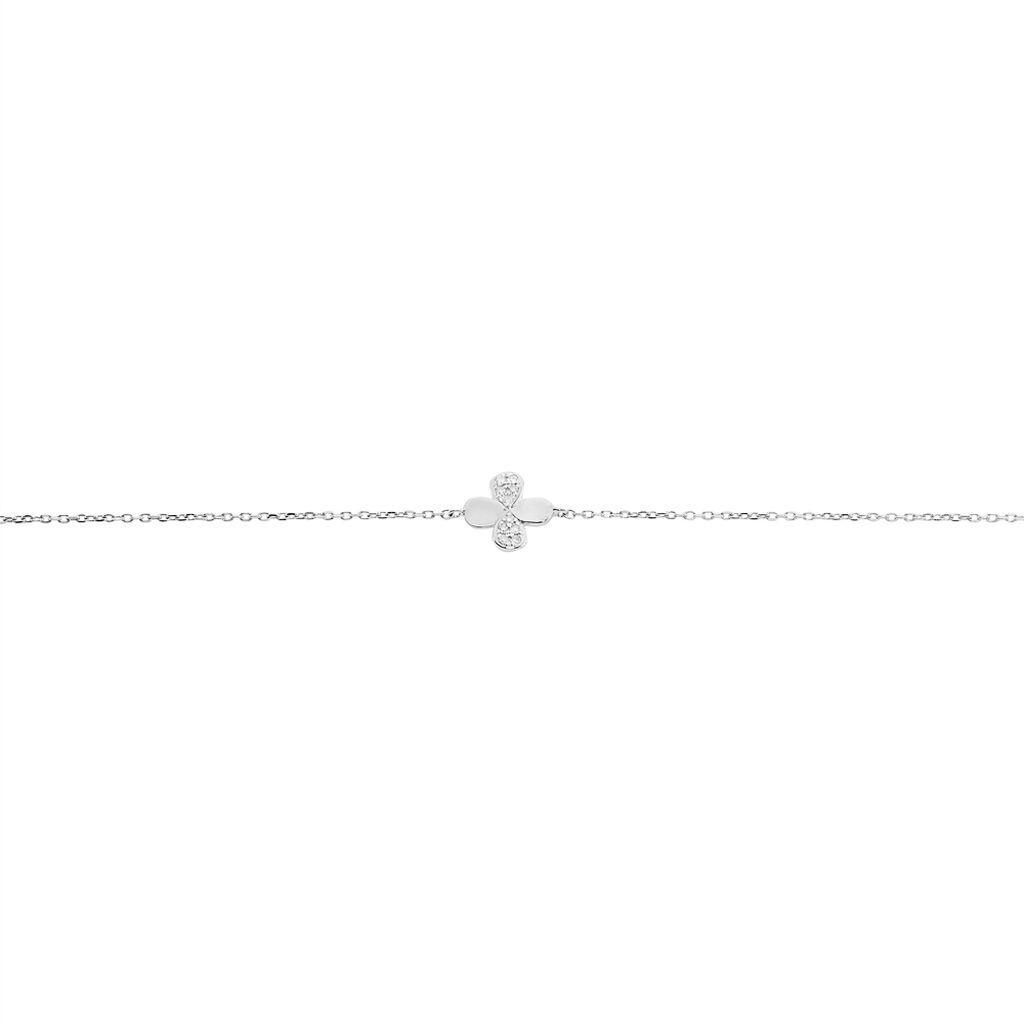 Bracelet Emilia Or Blanc Diamant - Bracelets Trèfle Femme | Histoire d'Or