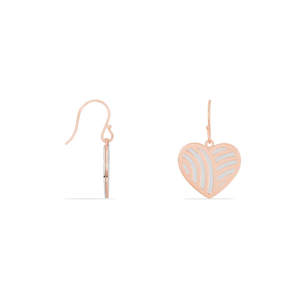 Boucles D'oreilles Pendantes Aniliane Acier Bicolore - Boucles d'Oreilles Coeur Femme   Histoire d'Or