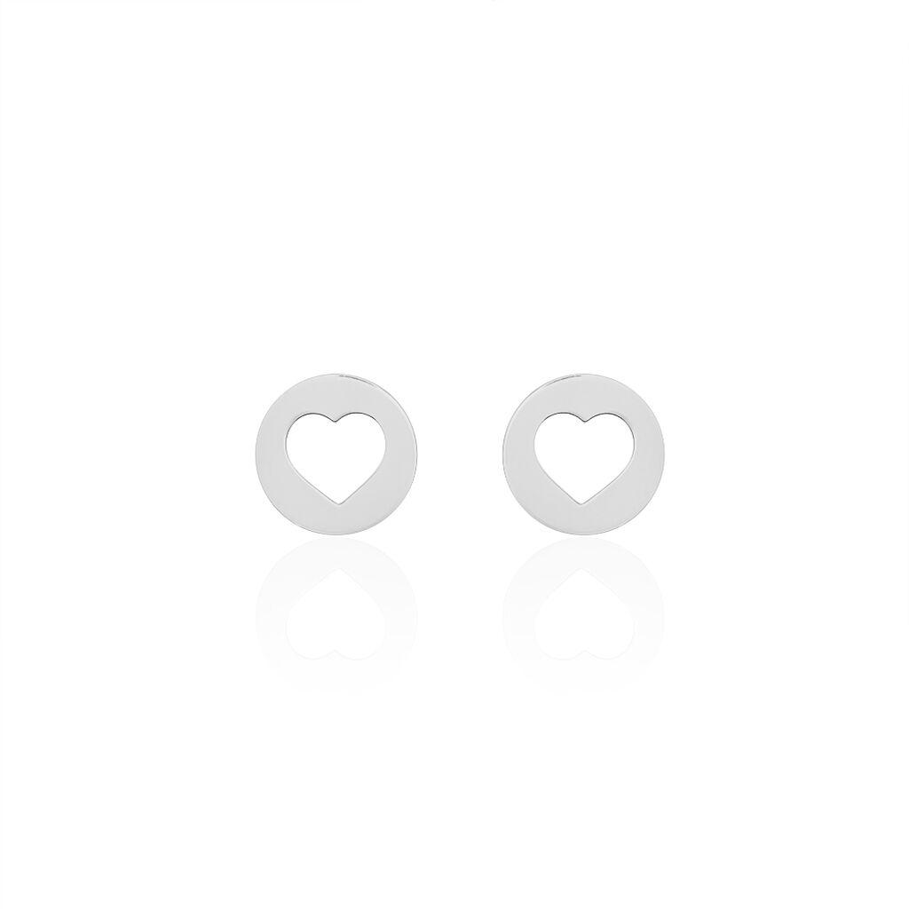 Boucles D'oreilles Puces Elenza Argent Blanc - Boucles d'Oreilles Coeur Femme | Histoire d'Or