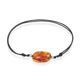Bracelet Argent Boule Ambre Cordon Noir - Bracelets cordon Femme   Histoire d'Or