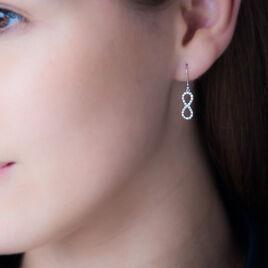 Boucles D'oreilles Pendantes Klothilda Or Blanc Oxyde De Zirconium - Boucles d'Oreilles Infini Femme | Histoire d'Or