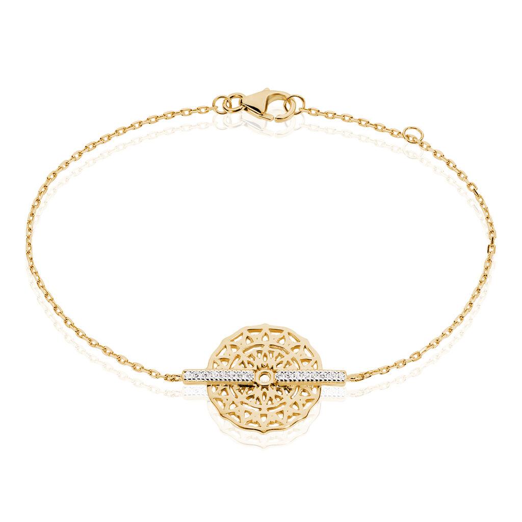 Bracelet Zora Plaque Or Jaune Oxyde De Zirconium - Bracelets fantaisie Femme   Histoire d'Or