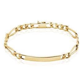 Bracelet Identité Bixente Alternee 1/3 Plaque Or Jaune - Gourmettes Homme | Histoire d'Or