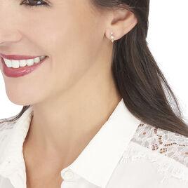 Boucles D'oreilles Puces Caterine Or Bicolore Diamant - Clous d'oreilles Femme | Histoire d'Or