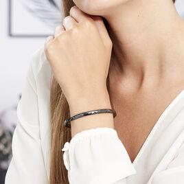 Bracelet Jonc Hélène Céramique Noire - Bracelets fantaisie Femme | Histoire d'Or