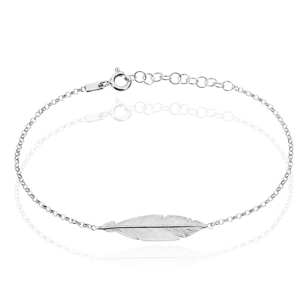 Bracelet Argent Rhodie Euriell Plume - Bracelets Plume Femme   Histoire d'Or