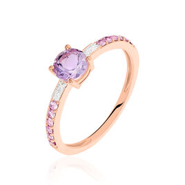 Bague Tie And Dye Or Rose Amethyste Et Saphir Et Diamant - Bagues avec pierre Femme | Histoire d'Or