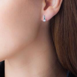 Boucles D'oreilles Puces Katrina Or Blanc Oxyde De Zirconium - Clous d'oreilles Femme | Histoire d'Or