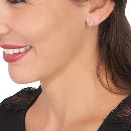 Boucles D'oreilles Puces Albanne Or Jaune Oxyde De Zirconium - Clous d'oreilles Femme | Histoire d'Or