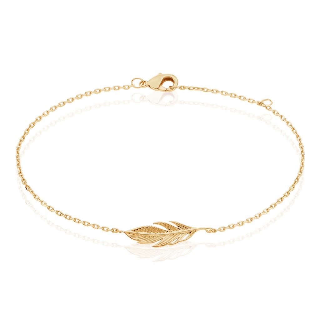 Bracelet Hanae Plaque Or Jaune - Bracelets Plume Femme   Histoire d'Or