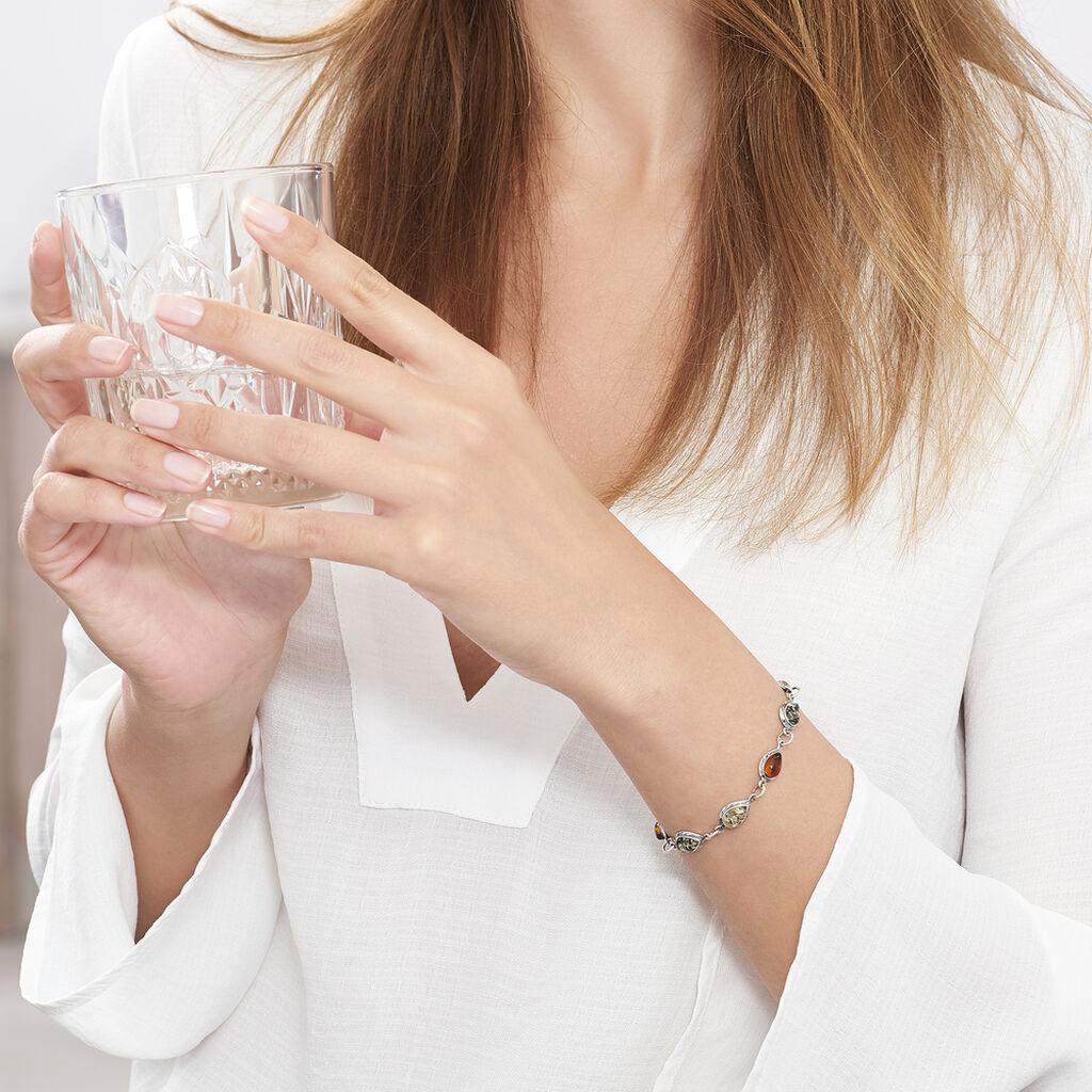 Bracelet Fallone Argent Blanc Ambre - Bijoux Femme   Histoire d'Or
