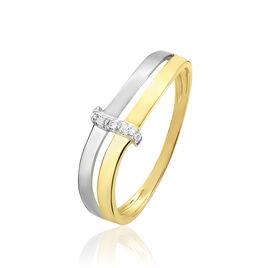 Bague Lisella Or Bicolore Diamant - Bagues avec pierre Femme | Histoire d'Or