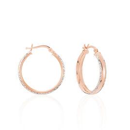 Créoles Ava Bords Diamantés Argent Rose - Boucles d'oreilles créoles Femme | Histoire d'Or