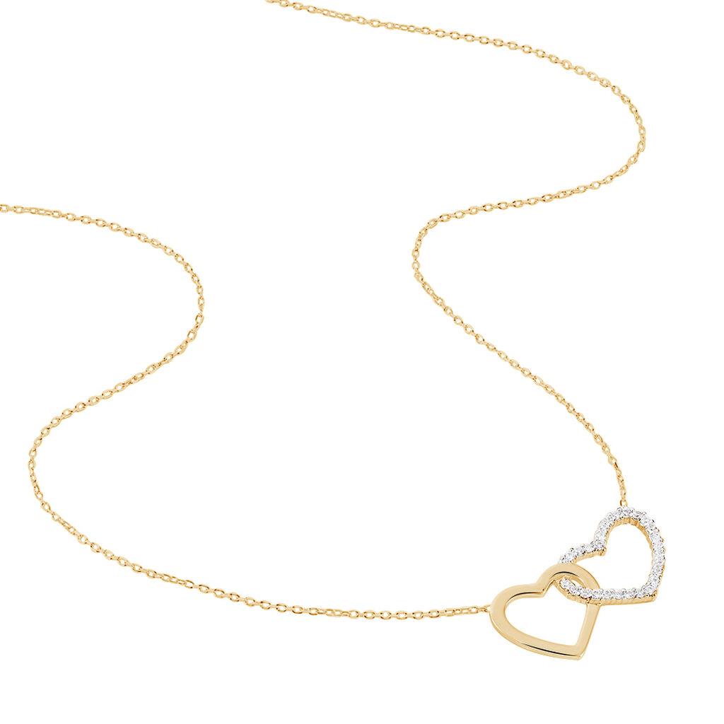 Collier Marie-suzy Plaque Or Jaune Oxyde De Zirconium - Colliers Coeur Femme | Histoire d'Or